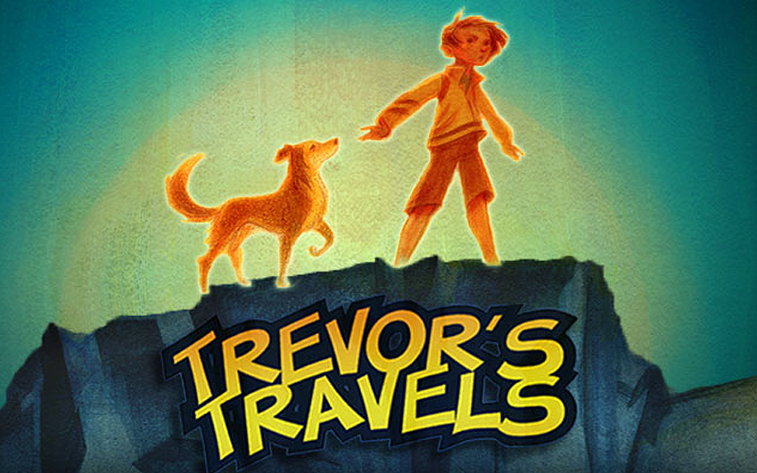 Trevor-Travels-Eco-Foundation-Kickstarter-Video-Thumbnail of trevor and his dog on cliff